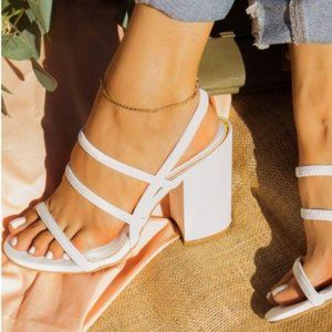 Shoes - Strappy Block Heel Sandals in White